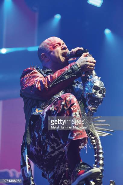 Vocalist Ivan Moody of American heavy metal group Five Finger Death Punch performing live on stage at Wembley Arena in London on December 21 2017