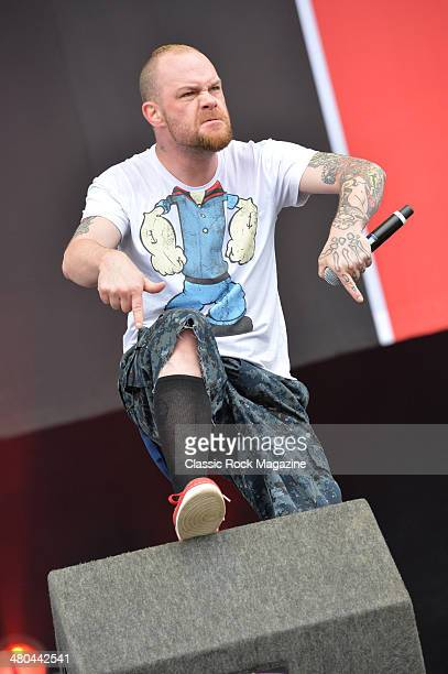 Vocalist Ivan Moody of American heavy metal group Five Finger Death Punch performing live on the Main Stage at Download Festival on June 16 2013