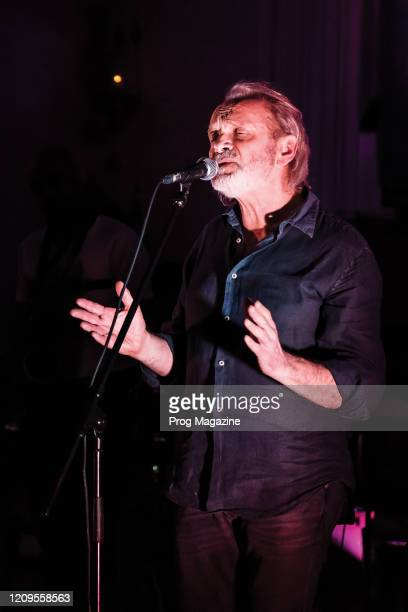 Vocalist Jack Hues performing live on stage with The Quartet and Syd Arthur at St Pancras Old Church in London on April 11 2019
