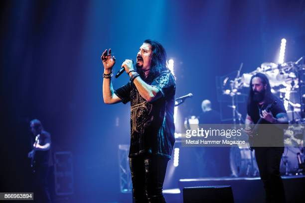 Vocalist James LaBrie and guitarist John Petrucci of American progressive metal group Dream Theater performing live on stage at the Hammersmith...