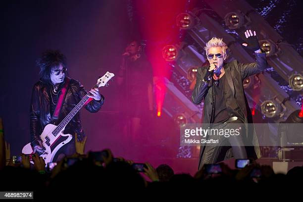 Vocalist James Michael and bassist Nikki Sixx of SIXXAM perform at The Regency Ballroom on April 8 2015 in San Francisco California