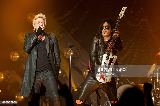 Vocalist James Michael and bassist Nikki Sixx of SIXXAM performs at The Regency Ballroom on April 8 2015 in San Francisco California