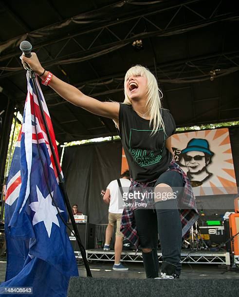 Vocalist Jenna McDougall of the Australian pop punk band Tonight Alive performs onstage during the 2012 Vans Warped Tour at Klipsch Music Center on...