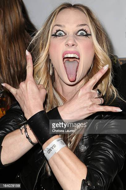 Vocalist Jill Janus of Huntress attends the 6th annual Rockstar energy drink Mayhem festival press conference at The Whiskey A Go Go on March 18 2013...