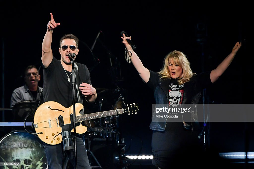 Vocalist Joanna Cotten (R) and Musician Eric Church (L) performs during his Holdin' My Own Tour at Barclays Center on January 27, 2017 in the Brooklyn borough of New York City.