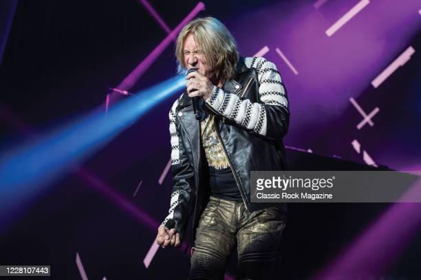 Vocalist Joe Elliott of English hard rock group Def Leppard performing live on stage at Zappos Theater in Las Vegas, on August 15, 2019.