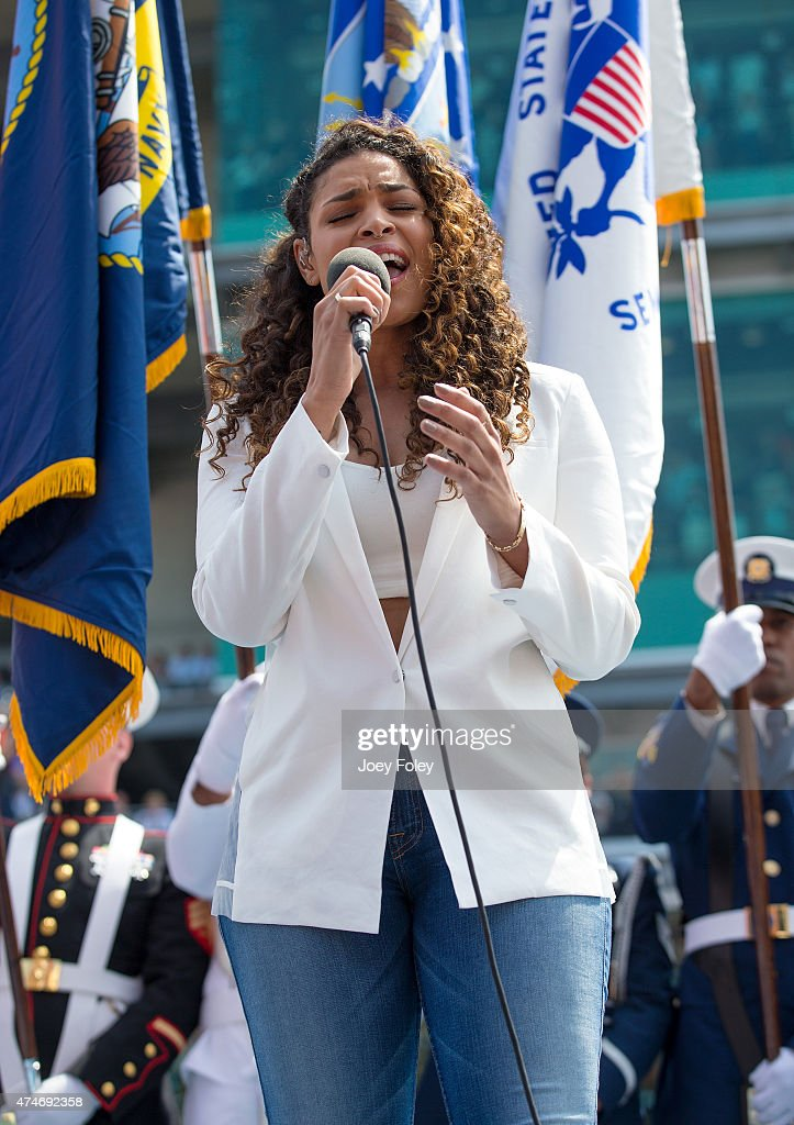 Vocalist Jordin Sparks sings the National Anthem during the 2015 Indy 500 at Indianapolis Motorspeedway on May 24, 2015 in Indianapolis, Indiana.