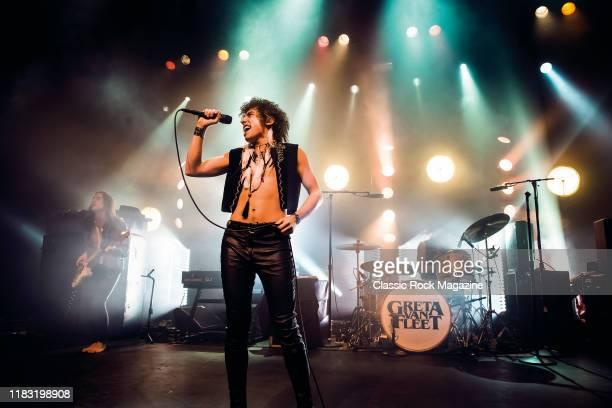 Vocalist Josh Kiszka of American rock group Greta Van Fleet performing live on stage at The Forum in London, on November 9, 2018.