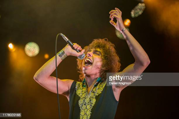 Vocalist Josh Kiszka of Greta Van Fleet performs on stage at Cal Coast Credit Union Open Air Theatre on September 29, 2019 in San Diego, California.