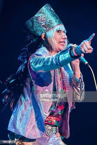 Vocalist Karen O of The Yeah Yeah Yeahs performs during day 1 of the 2013 Coachella Valley music arts festival at The Empire Polo Club on April 12...