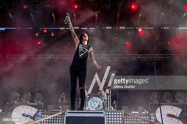 Vocalist Kellin Quinn of Sleeping With Sirens performs at 2015 Monster Energy Aftershock Festival at Gibson Ranch County Park on October 25 2015 in...