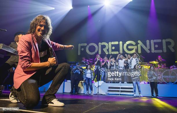 Vocalist Kelly Hansen of Foreigner performs in concert with the Connally High School choir at ACL Live on February 25 2018 in Austin Texas