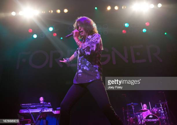 Vocalist Kelly Hansen of the rock band Foreigner performs at the Belterra Casino on February 16 2013 in Florence Indiana