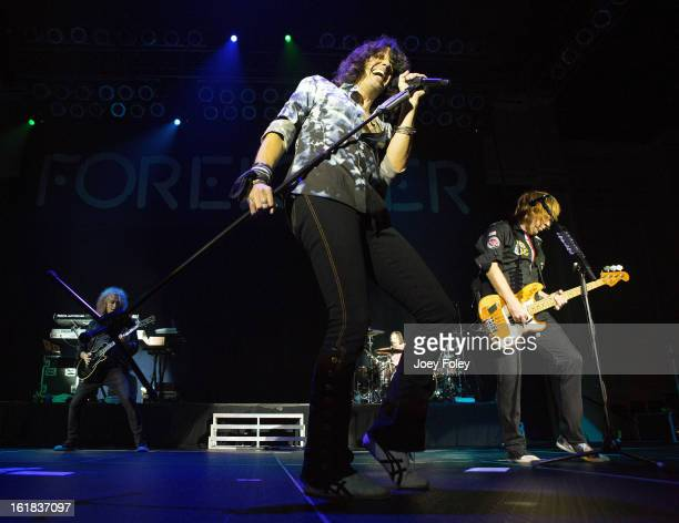 Vocalist Kelly Hansen of the rock band Foreigner performs in front of a soldout crowd at the Belterra Casino on February 16 2013 in Florence Indiana
