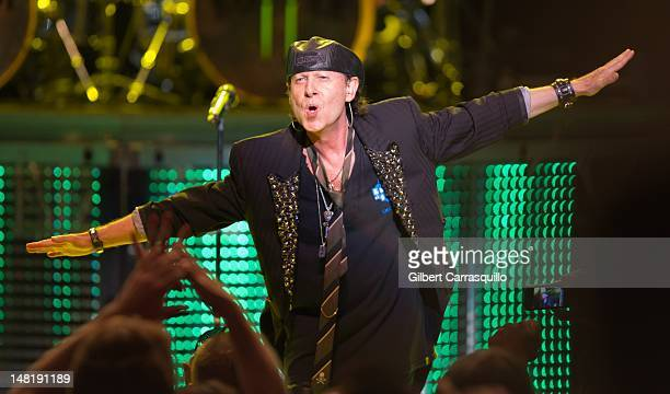 Vocalist Klaus Meine of the Scorpions performs during their 'Final Sting Tour' at The Mann Center For Performing Arts on July 11 2012 in Philadelphia...
