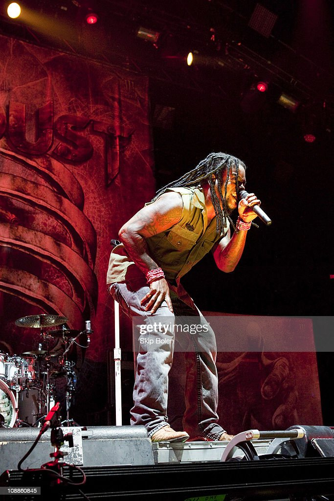 Vocalist Lajon Witherspoon of Sevendust performs at the Mississipi Coast Coliseum on February 5, 2011 in Biloxi City.