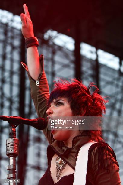 Vocalist Lzzy Hale of Halestorm performs at Verizon Wireless Amphitheater on September 17 2010 in Irvine California