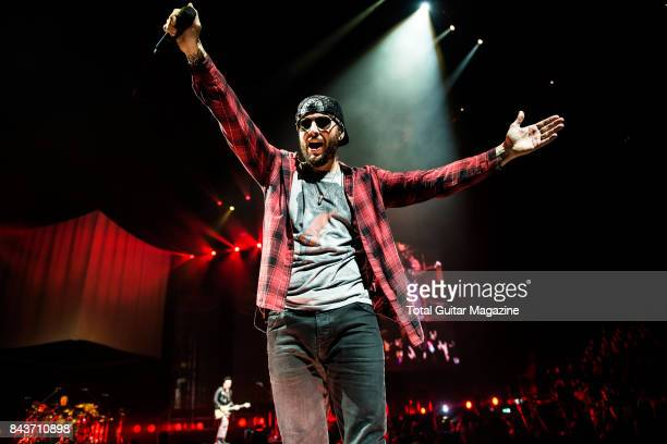 Vocalist M Shadows of American hard rock group Avenged Sevenfold photographed during a live performance at the O2 Arena in London on January 21 2017