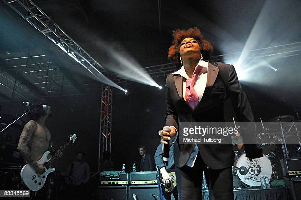 Vocalist Macy Gray performs with allstar cover band Camp Freddy at the benefit grand opening of celebrity vehicle customization shop Galpin Auto...