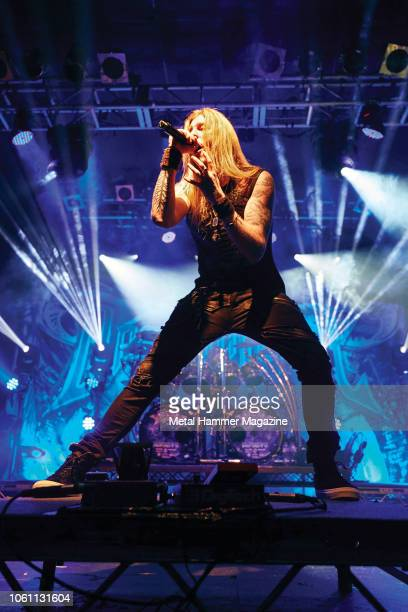 Vocalist Marc Hudson of British power metal group DragonForce performing live on stage at the Electric Ballroom in London on October 13 2017
