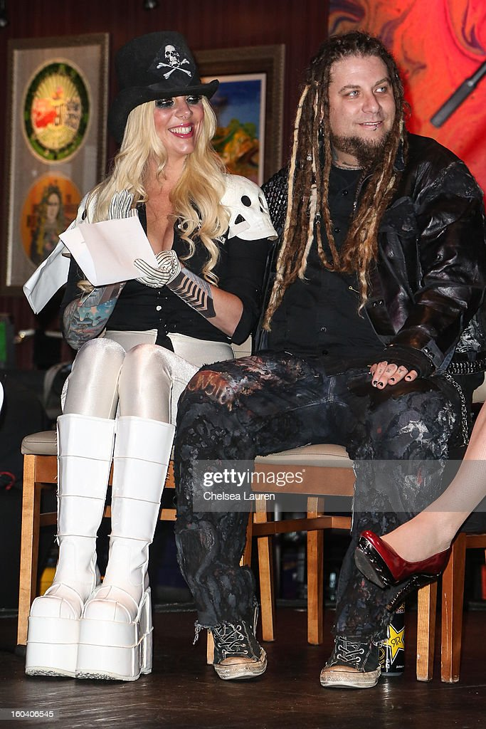 Vocalist Maria Brink (L) and guitarist Chris Howorth of In This Moment attend the Revolver Golden Gods Awards press conference at Hard Rock Cafe - Hollywood on January 30, 2013 in Hollywood, California.
