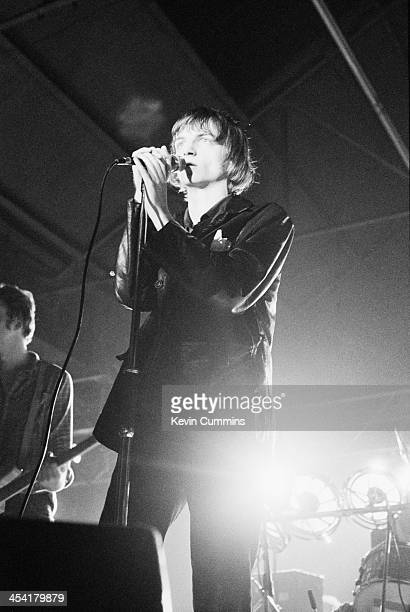 Vocalist Mark E Smith performing with his group The Fall Leeds 9th September 1979