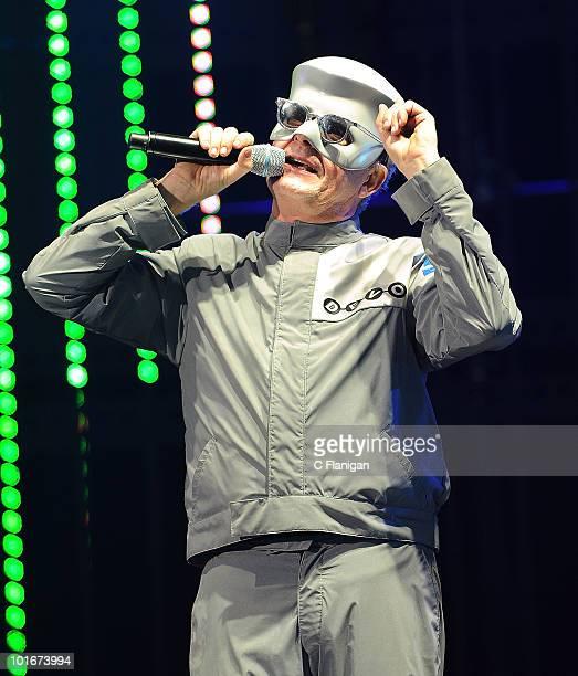 Vocalist Mark Mothersbaugh of DEVO performs during the 2010 KROQ Weenie Roast at Verizon Wireless Amphitheatre on June 5 2010 in Laguna Hills...