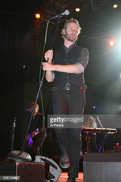 Vocalist Matt Berninger and his group The National performa Benefit Concert for Celebrate Brooklyn during the 32nd season of Celebrate Brooklyn at...