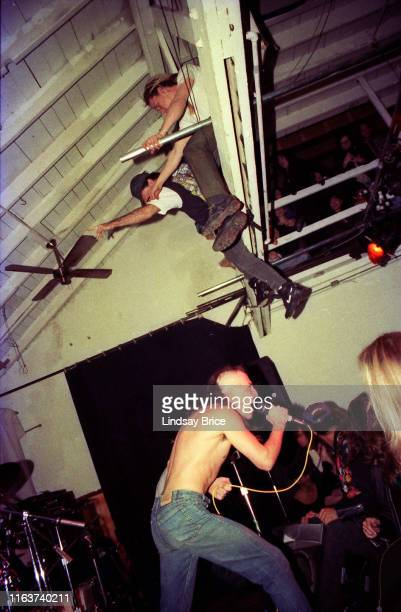 Vocalist Maynard James Keenan drummer Danny Carey guitarist Adam Jones and bassist Paul D'Amour perform in Tool at the Jello Loft in Hollywood on...