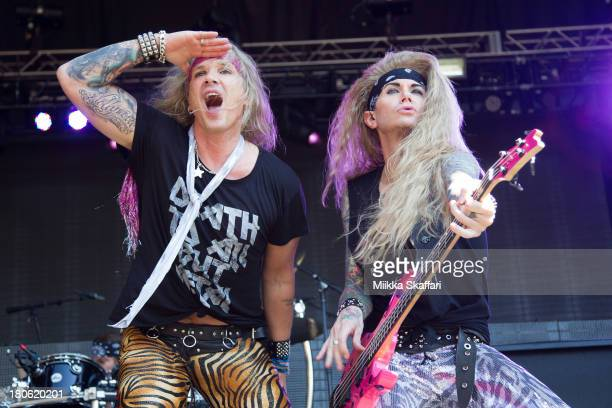 Vocalist Michael Starr and bassist Lexi Foxx of Steel Panther perform in Monster Energy's Aftershock Festival at Discovery Park on September 14 2013...