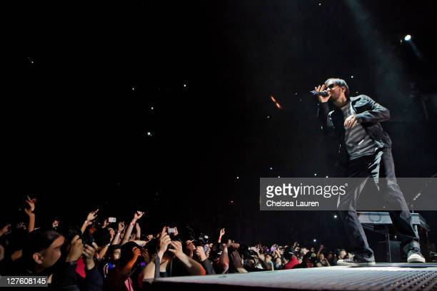 Vocalist Mike Shinoda of Linkin Park performs at Staples Center on February 23 2011 in Los Angeles California