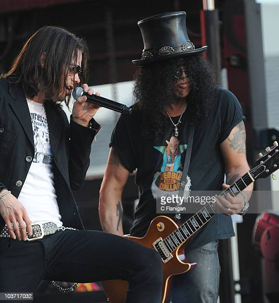 Vocalist Myles Kennedy and Slash perform during the 3rd Annual Sunset Strip Music Festival on August 28 2010 in West Hollywood California