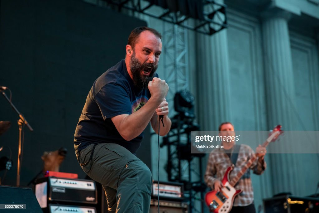 Vocalist Neil Fallon and bassist Dan Maines of Clutch perform at The Greek Theater on August 18, 2017 in Berkeley, California.