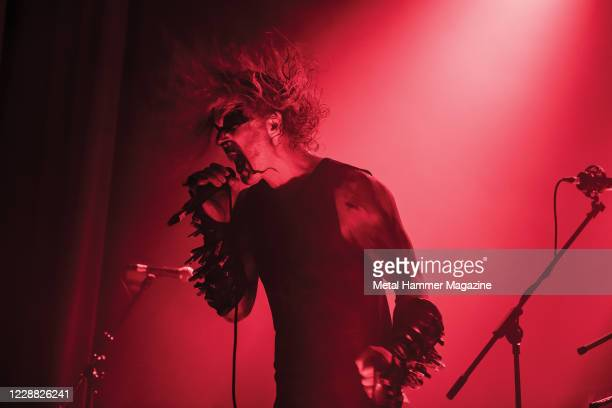 Vocalist Olav Bergene, better known by his stage name Ravn, of Norwegian black metal group 1349 performing live on stage at Islington Assembly Hall...