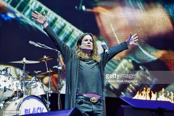 Vocalist Ozzy Osbourne of English heavy metal group Black Sabbath performing live on stage at Download Festival on June 11 2016