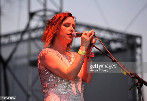 Vocalist Rachel Goswell of Slowdive performs during Day 1 of FYF Fest 2014 at LA Sports Arena Exposition Park on August 23 2014 in Los Angeles...