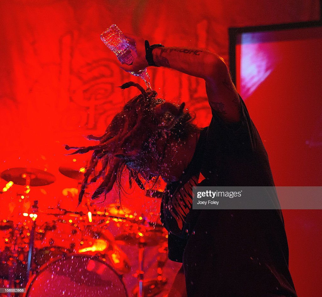 Vocalist Randy Blythe of Lamb of God performs at The Egyptian Room in Old National Centre on November 8, 2012 in Indianapolis, Indiana.
