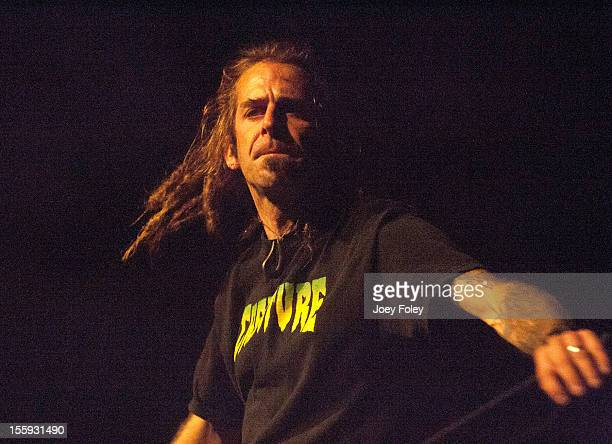 Vocalist Randy Blythe of Lamb of God performs at The Emerson Theater on November 6 2012 in Indianapolis Indiana