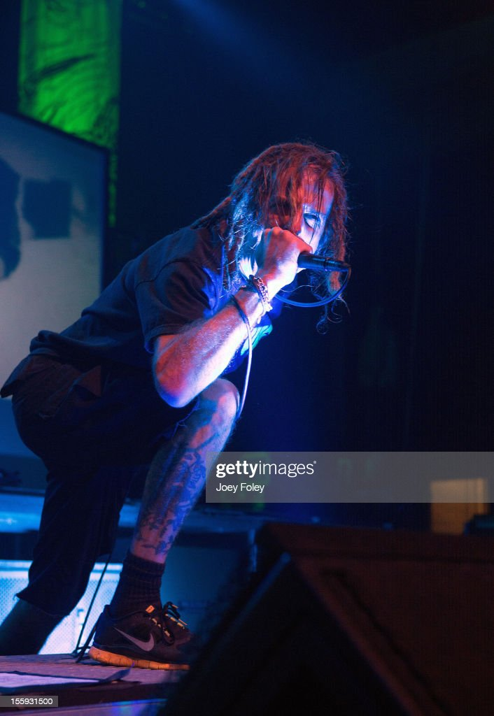 Vocalist Randy Blythe of Lamb of God performs at The Emerson Theater on November 6, 2012 in Indianapolis, Indiana.