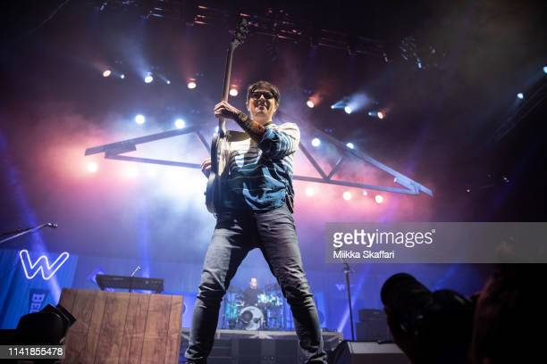 Vocalist Rivers Cuomo of Weezer performs at ORACLE Arena on April 10 2019 in Oakland California
