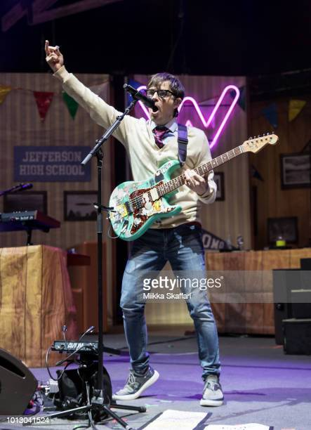Vocalist Rivers Cuomo of Weezer performs at Shoreline Amphitheatre on August 7 2018 in Mountain View California