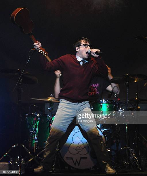 Vocalist Rivers Cuomo of Weezer performs during the bands re-release 'Pinkerton' tour at Nob Hill Masonic Auditorium on November 29, 2010 in San...