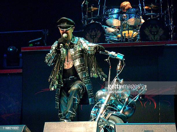 Vocalist Rob Halford and drummer Scott Travis of Judas Priest perform during the Metal Masters tour at the Verizon Wireless Amphitheater August 24...