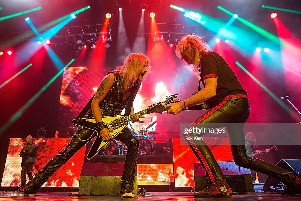 Vocalist Rob Halford, musicians Richie Faulkner, Glenn Tipton, and Ian Hill of Judas Priest perform in concert at Cedar Park Center on May 14, 2015 in Cedar Park, Texas.