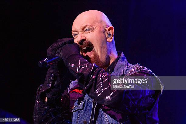 Vocalist Rob Halford of Judas Priest performs at City National Civic on November 16 2014 in San Jose California