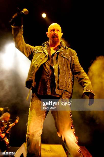 Vocalist Rob Halford of Judas Priest performs in concert at the ATT Center on July 25 2009 in San Antonio Texas