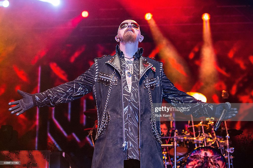 Vocalist Rob Halford of Judas Priest performs on stage during Day 1 of Fun Fun Fun Fest at Auditorium Shores on November 7, 2014 in Austin, Texas.