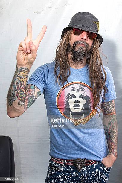 Vocalist Rob Zombie poses backstage during the Rockstar Energy Drink Mayhem Festival at Austin360 Amphitheater on August 2 2013 in Austin Texas