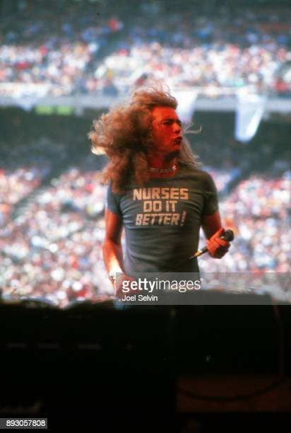 Vocalist Robert Plant of Led Zeppelin appears at the 'Day On the Green' concert at the Oakland Coliseum Stadium on July 24 1977 in Oakland California