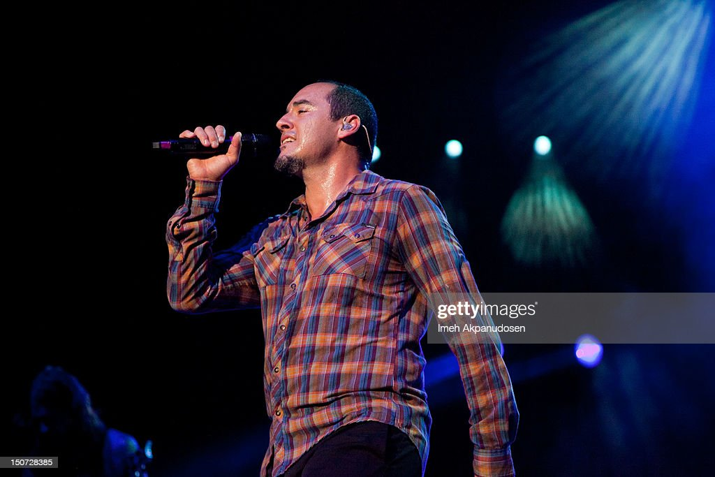 Vocalist S.A. Martinez of 311 performs onstage at Verizon Wireless Amphitheatre on August 24, 2012 in Laguna Hills, California.